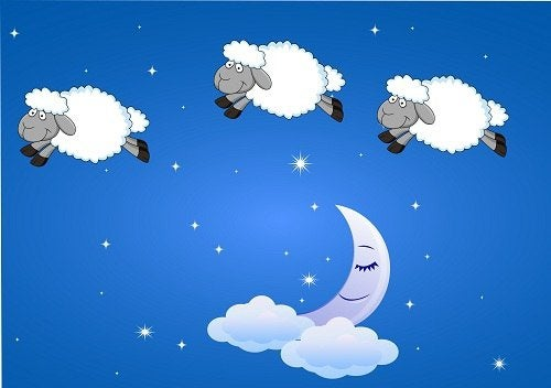 Cielo con mezza luna e pecorelle