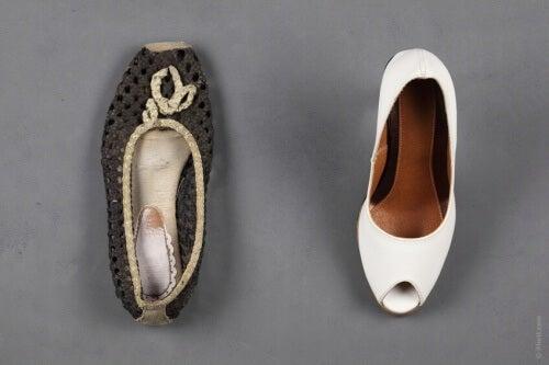 scarpe comode grige e bianche