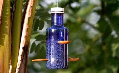riciclare bottiglie di plastica mangiatoia