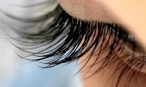 Primo piano di occhio con ciglia lunghe