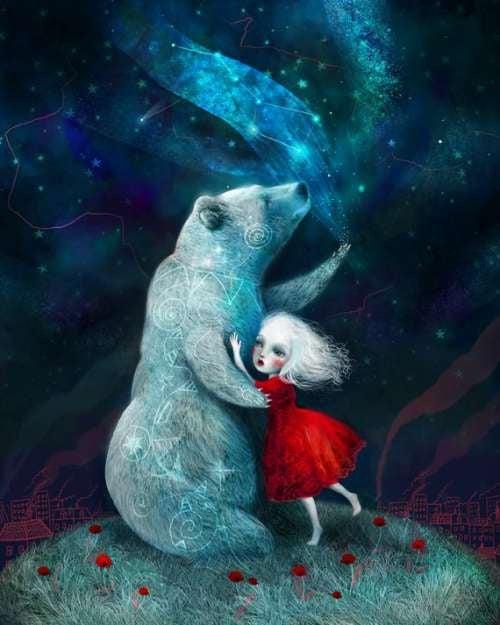 bambina che abbraccia orso con personalità sensibile