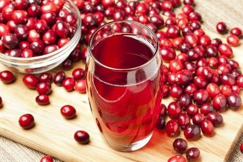 Succo di mirtilli rossi