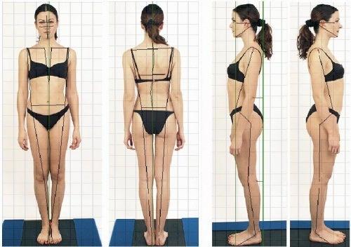 Postura corretta di fronte, di dietro e di profilo