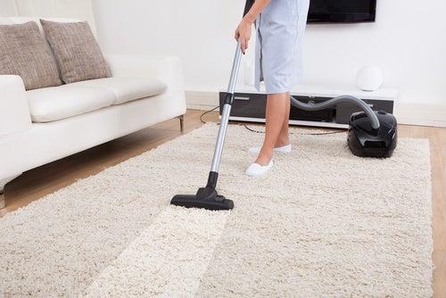 Donna passa aspirapolvere sul tappeto