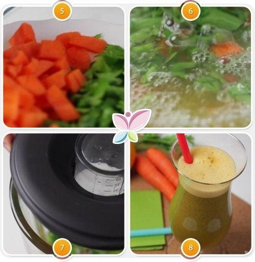 frullare gli ingredienti e servire