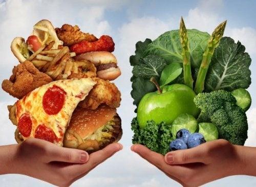 cibo spazzatura vs cibo sano