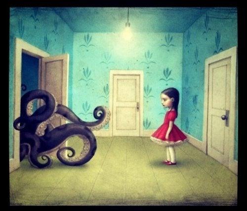 Persone cattive rappresentate da polipo gigante che entra dalla porta