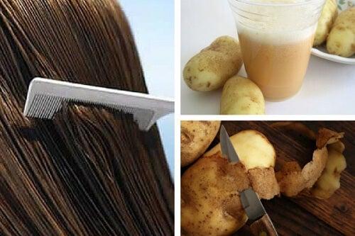 Acqua di buccia di patate per rafforzare i capelli