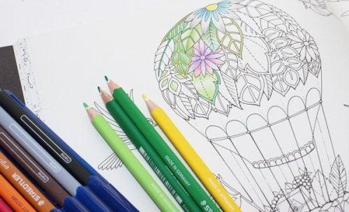 Mongolfiera di piante da colorare