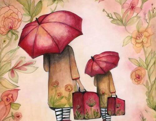 made e figlia con valigie
