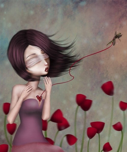 ragazza con il cuore ferito e portato via da un insetto