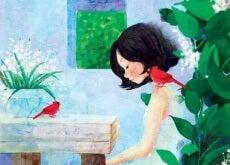 ragazza triste in un giardino