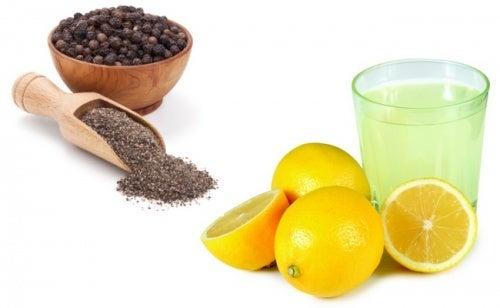 rimedio a base di limone olio d'oliva e pepe nero