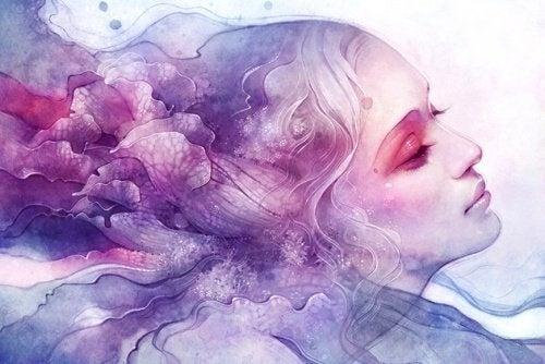 donna-in-rosa-e-azzurro-immersa-nei-ricordi