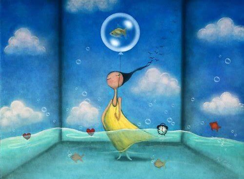 donna nel mare che rilassa la mente