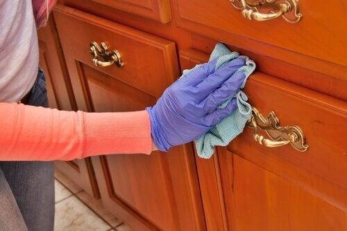 Donna che pulisce mobili