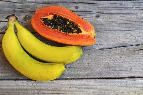 Papaya e banane.