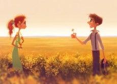 ragazzo regala fiore ad una ragazza