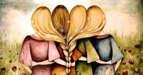 Abbraccio tra quattro amiche