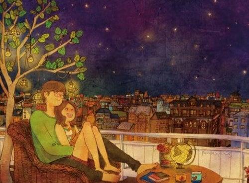 coppia sotto le stelle