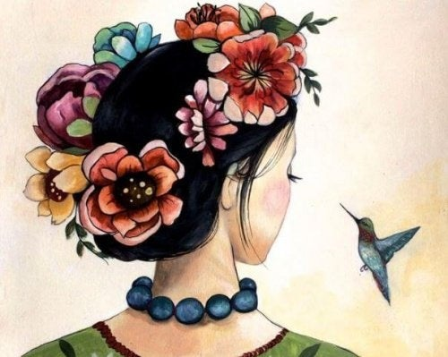 donna con una ghirlanda di fiori sui capelli