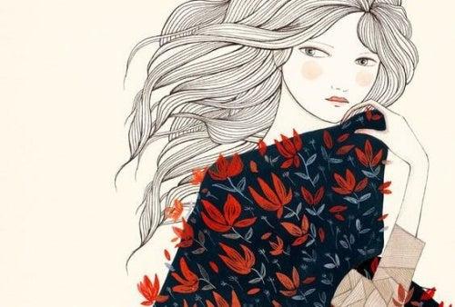 Donna con vestito a fiori
