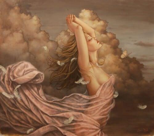 donna tra veli rosa e nuvole