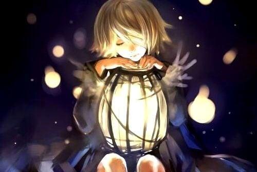Bambino-lanterna luce