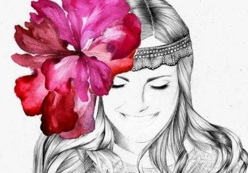 Donna con fiore in testa la semplicità
