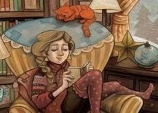 donna legge in compagnia del gatto la semplicità