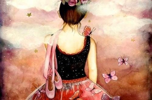 ballerina pensa di colorare mandala