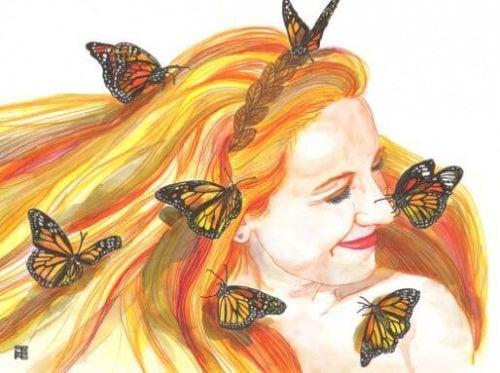 donna con farfalle acciaio indimenticabile