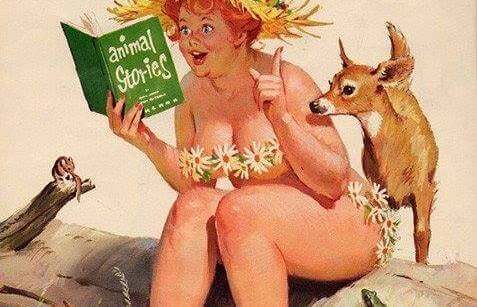 Donna con un pizzico di follia legge libro con cerbiatto