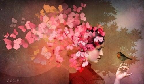 la menzogna donna con farfalle sulla testa