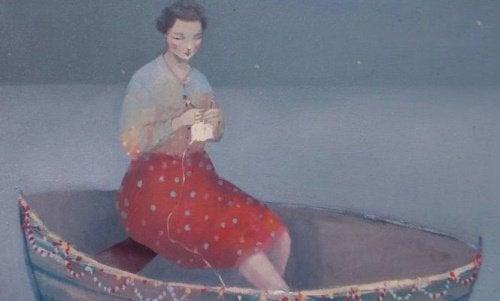 donna su una barca essere forte