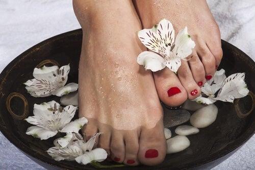 piedi immersi in acqua fredda e fiori bianchi