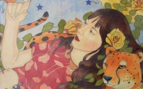 donna con ghepardo persone diverse