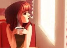 donna-con-tazza-di-caffè aspettare