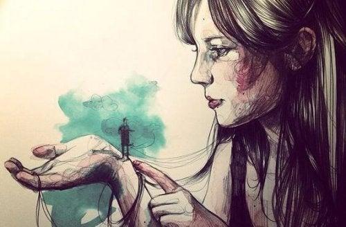 donna-con-un-uomo-minuscolo-sulla-mano meritare
