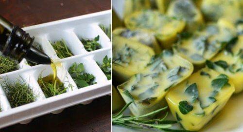 Trucco di cucina per conservare le erbe in freezer