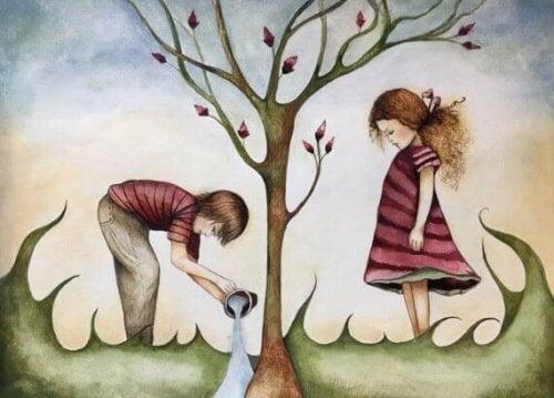 bambini che innaffiano un albero bolla felice