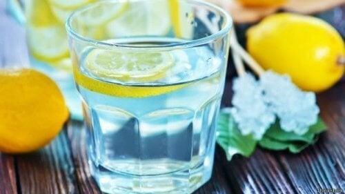 bicchiere con acqua e limoni