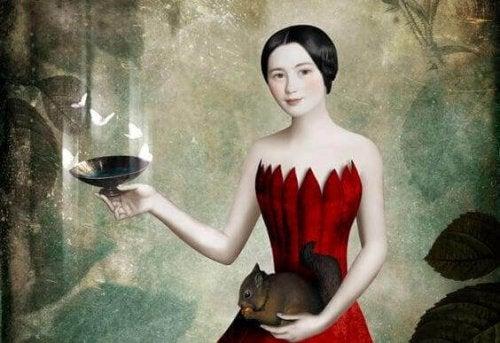 donna con scoiattolo, piatto e farfalle soldi