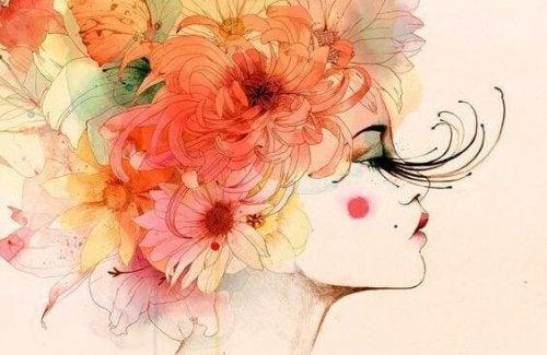 donna fiori per capelli e ciglia lunghissime