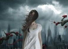il tempo donna oscura con capelli al vento