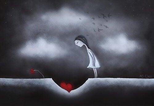 bambina che guarda il suo cuore emotivamente maturi