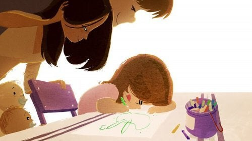 genitori-guardano-figlia-disegnare bambini