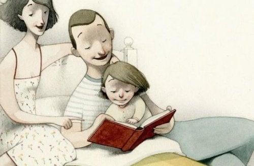 genitori leggono una storia figlia bambini