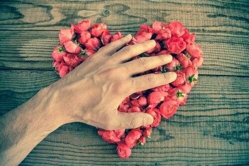 mano che tocca un cuore di rose amare