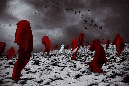 mantelli rossi volteggiano il tempo